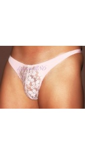 Pink Stretch Mesh and Lace Thong With Front Pouch In Sizes Medium and Large.