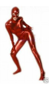 Metallic Red Zentai Full Bodysuit With Hood Option