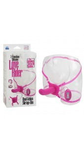 Seven Function Silicone Love Rider™ Dual Action Strap-On In Pink or Black.