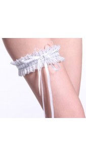 White Stretch Satin and Lace Garter With Rhinestone Detail.