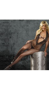 Deep Front Vee Fish Net Body Stocking