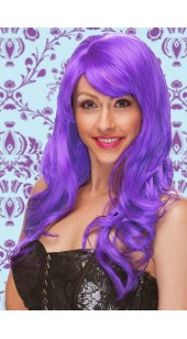 Deluxe Long Curled Purple Wig.