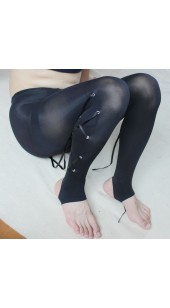 Black Mesh Footless Pantyhose with Lace Up Lag Panels..
