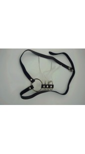 Four Steel Cock Ring Electro Sex Set With Leather Belt.