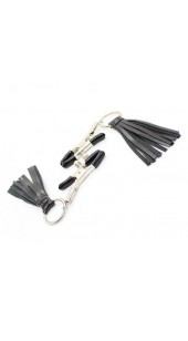 Adjustable Nipple Clamp's With Black PU Leather Tassles.