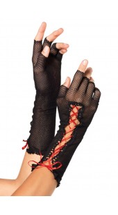Black Fingerless Fishnet Gloves with Lace-Up Detail In Two Colors - Black - Red.