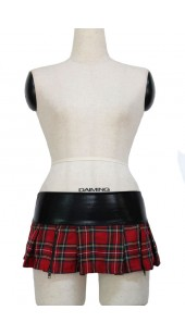 Red Tartan Two Zip Skirt