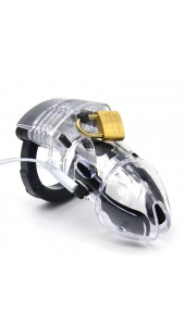 Black Jack Size Electrosex Chastity Devices in Clear or Black.