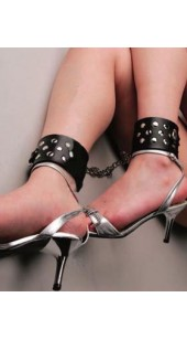 Black Leather Ankle Cuffs.
