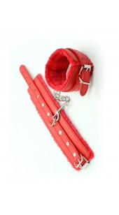Red Leather Ankle Restrains With Soft Lining.