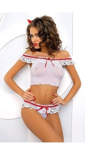 White mesh and lace Two Pc Set.