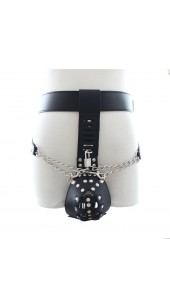 Men's Black Studded Leather Chastity Bondage Suit With Chains.