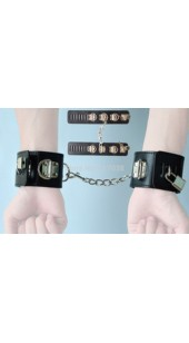 Black Leather Wrist Restrains With Linking Chain and Locks.