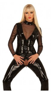 Black Pvc and Mesh Bodysuit In sizes Medium to XXXL