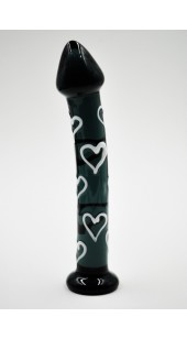 Black Heart Throb Glass Dildo