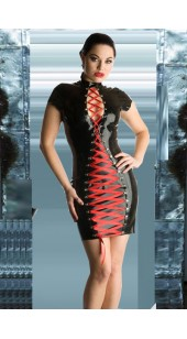 Black Pvc Lace Up front Dress in Sizes Medium to Large.