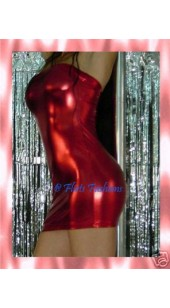 Metallic Red Lycra Tube Dress
