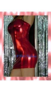 Metallic Red Lycra Tube Dress