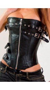 PU Leather Black Corset With Front Zip Sizes Medium to XL