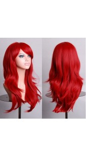 Similler Medium/Long Red Ravern Wig (28 Inch) With Two Free Wig Caps.