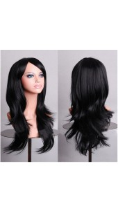 Similler Long Jet Black Wig (28 Inch) With Two Free Wig Caps.