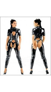 Black PVC Lace Up Front Chaps Suit S,M,L,XL,XXL