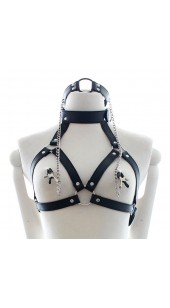PU Leather O Ring Gag With Nipple clamps and Harness Bra.