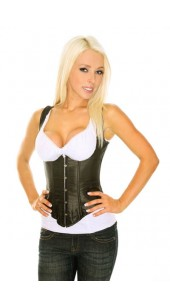 Pu Leather Black Open Bust Corset sizes Medium to XXL.