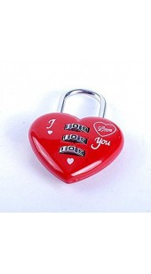 Red Heart Three Digit Combination Pad Lock.