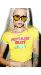 Sexy Popular Slut Club Printed Slim Tee-shirt.