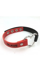 Heart Red and Black SLAVE Collar.