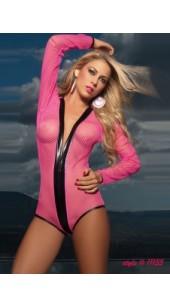 Pink Mesh Long Sleeve Bodysuit.