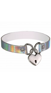 Holographic Locking Heart Choker Collar in a Range of Colours.