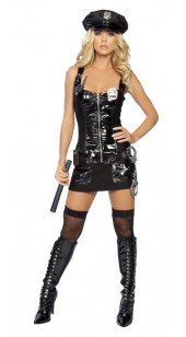 Black Pvc amd Mesh Seven Pc Police Costume In Sizes M and XXL