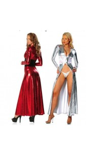Red or Silver Spandex and Lace Open Front Dress with a G-string.