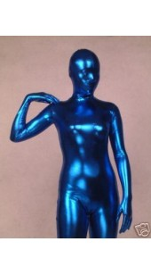 Metallic Blue Zentai Full Bodysuit With Hood Option