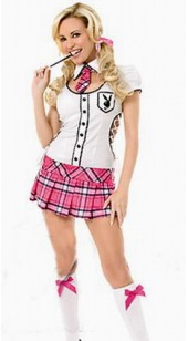 Pink Tartan and White Top School Girl Costume.