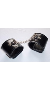 Black Leather Wrist Restrains Wit Small Chain.