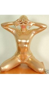 Metallic Gold Zentai Full Bodysuit With Hood Option