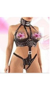Three Pc Leather Women's Body Suit.