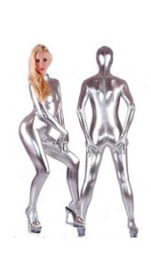 Metallic Silver Zentai Full Bodysuit.