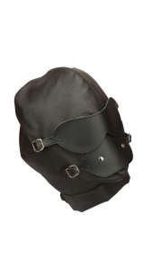 Pleather Hood With Eyes and Mouth Cover With Built in Ball Gag.