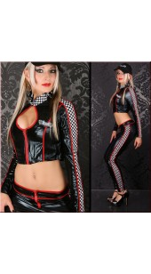 Black and Red Two Pc Racer Costume in Sizes Medium and Large..