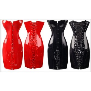 Red Pvc Strapless Corset Dress With Lace Up Rear.