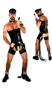 Men's Black Pvc Corset and Short's Chap Set Size XXXL.