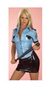Two Pc Black and Blue Police Costume in Sizes XXL and XXXL