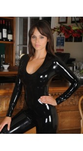 Black Spandex Women's Bodysuit.