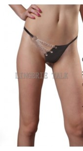 Stretch Black Thong With Chain Detail.