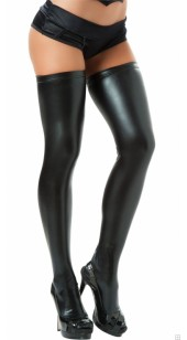Spandex Black Thigh High Stockings In Sizes Small to XXL.