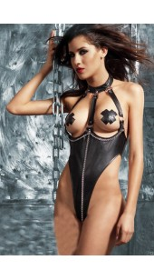 Black Faux leather Open Chest High Thigh Leotard With Chain's.